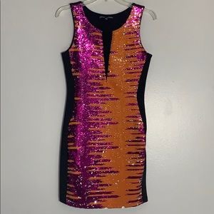 Bebe flipping reverse Sequins Party Mini dress